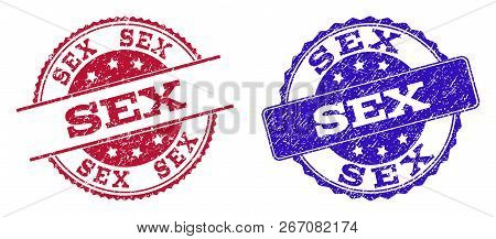 Grunge Sex Seal Stamps In Blue And Red Colors. Stamps Have Distress Style. Vector Rubber Imitation W