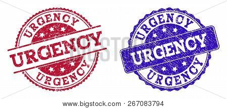Grunge Urgency Seal Stamps In Blue And Red Colors. Stamps Have Distress Style. Vector Rubber Imitati