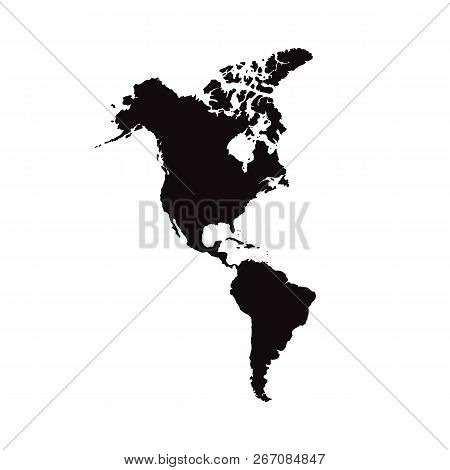North And South America. Mainland America. Modern Map - America With All Countries Complete