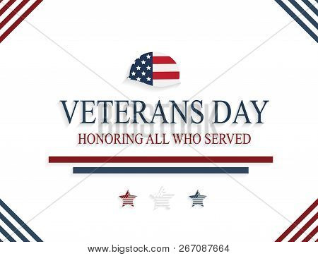 Happy Veterans Day Card With Army Helmet. Honoring All Who Served. Vector Illustration.