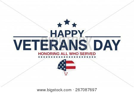 Happy Veterans Day Card With Helmet As Usa Flag. Honoring All Who Served. Vector Illustration.