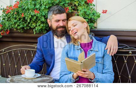 Man With Beard And Blonde Woman Cuddle On Romantic Date. Romance Concept. Love And Flirt. Common Int