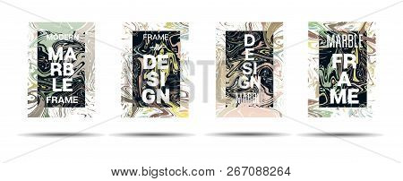 Dynamic Marble Texture Vector Frame Design. Suminagashi Liquid Paint Ad, Music, Party Poster, Congra