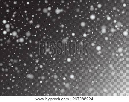 Vector Storm Trail Winter Snowfall Transparent Background. Isolated Realistic Snow Confetti Falling