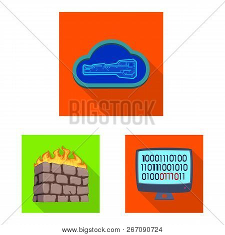 Isolated Object Of Virus And Secure Logo. Set Of Virus And Cyber Vector Icon For Stock.