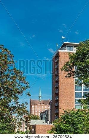 Buildings With Blue Sky In The City Rostock, Germany.