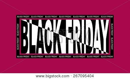 Black Friday Sale Banner On Red Background. Modern Design Flat Style.
