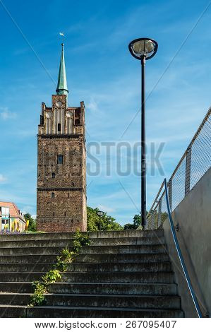 Building With Blue Sky In The City Rostock, Germany.