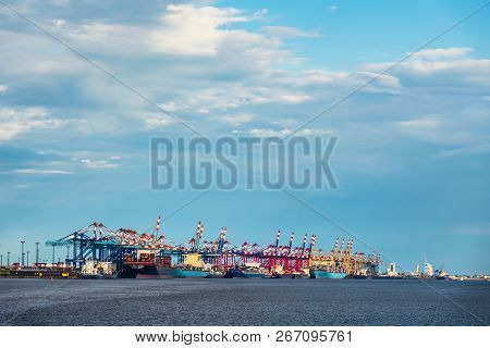 View To The Port Of Bremerhaven In Germany.
