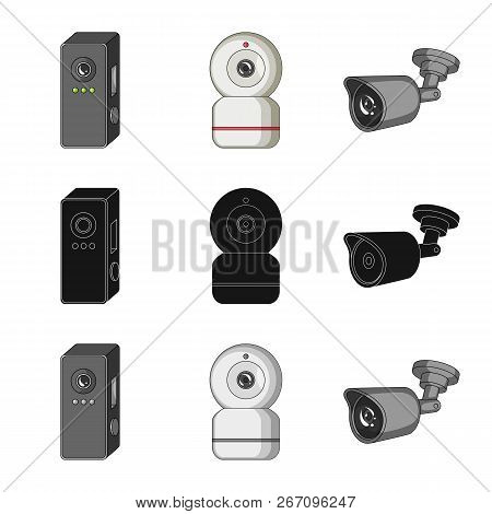 Vector Illustration Of Cctv And Camera Logo. Collection Of Cctv And System Stock Symbol For Web.