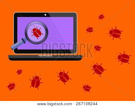 Computer Virus. Error Finding And Troubleshooting. Vector Stock Illustration.