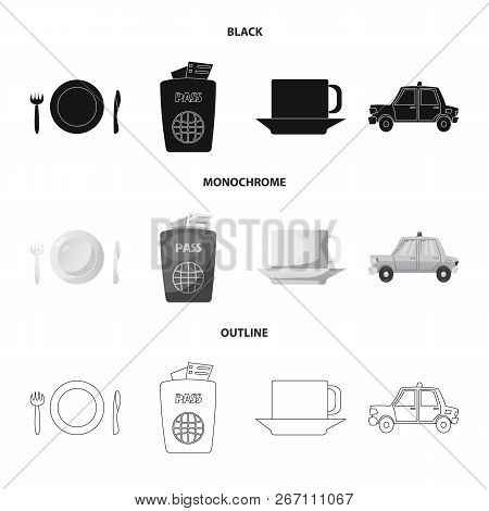 Vector Design Of Airport And Airplane Icon. Set Of Airport And Plane Stock Vector Illustration.
