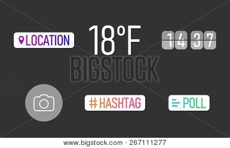 Interface In Popular Social Media. Icons Stories Social Media. Template For Stories In Social Media.