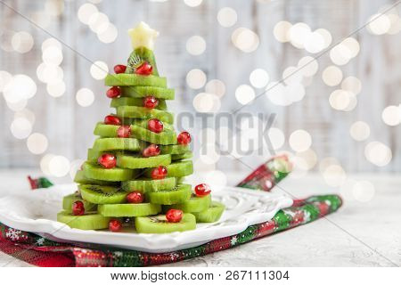 Healthy Dessert Idea For Kids Party - Funny Edible Kiwi Pomegranate Christmas Tree, Beautiful New Ye
