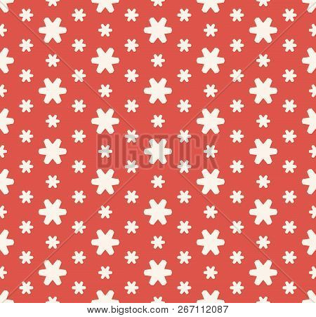 Vector Floral Seamless Pattern. Simple Abstract Texture With Small Geometric Flowers, Snowflakes, St