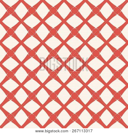 Vector Geometric Grid Seamless Pattern. Abstract Background Texture In Terracotta Red And White Colo