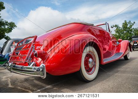 Westlake, Texas - October 20, 2018: A Rear View Of A Red 1936 Packard Model 1404 Convertible Coupe C