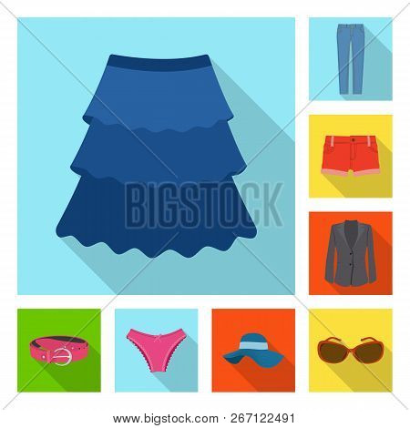 Isolated Object Of Woman And Clothing Sign. Set Of Woman And Wear Vector Icon For Stock.