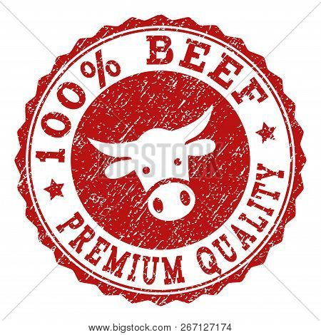 100 Beef Premium Quality Stamp Seal With Grunged Texture. Designed With Bull Head Symbol. Red Vector