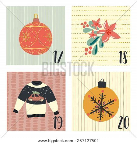 Advent Calendar With Hand Drawn Vector Christmas Holiday Illustrations For December 17th - 20th. Ugl