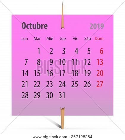 Spanish Calendar For October 2019 On A Pink Sticker Attached With Toothpick. Vector Illustration
