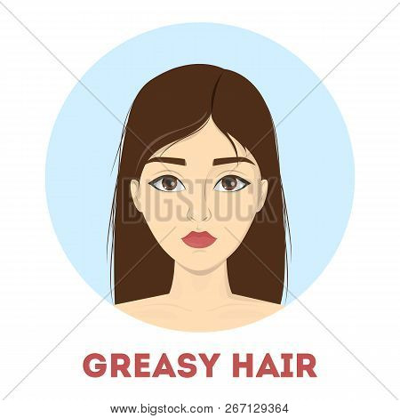Woman With Dirty Greasy Hair. Oily Head