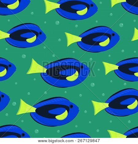 Seamless Pattern With Aquarium Fish. There Are Blue Surgeon Fishes In The Picture. Vector Illustrati