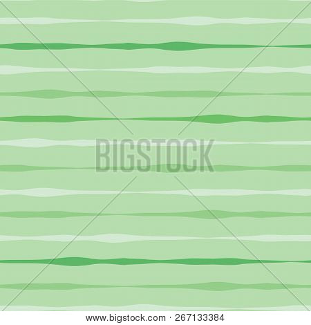 Abstract Green Seamless Vector Background. Green Hues Hand Drawn Horizontal Lines On Green Backgroun
