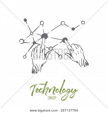 Technology, Science, Communication, Digital, Interface Concept. Hand Drawn Human Hands And Screen Co