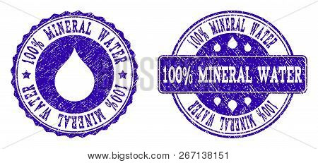 Grunge 100 Mineral Water Stamp Seal Imprints. 100 Mineral Water Text Inside Blue Unclean Rubber Seal
