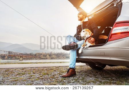 Breaded Man In Warm Clothes Siting With Beagle In Car Trunk. Traveling With Pet
