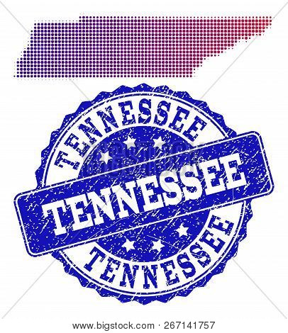 Halftone Dot Map Of Tennessee State And Blue Textured Seal Stamp. Vector Halftone Map Of Tennessee S