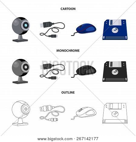 Isolated Object Of Laptop And Device Icon. Set Of Laptop And Server Stock Vector Illustration.
