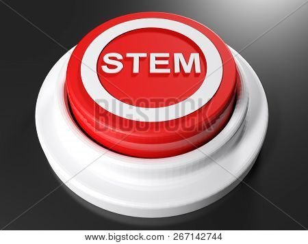 Stem Red Pushbutton - 3d Rendering Illustration