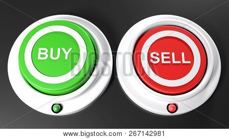 Pushbuttons To Buy And Sel; Sell Is Selected - 3d Rendering Illustration