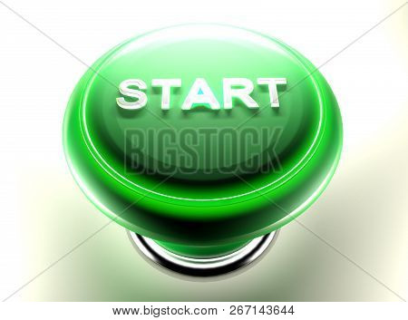 Green Pushbutton To Start - 3d Rendering Illustration