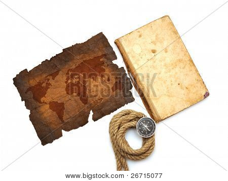 compass, old book, rope and map on white