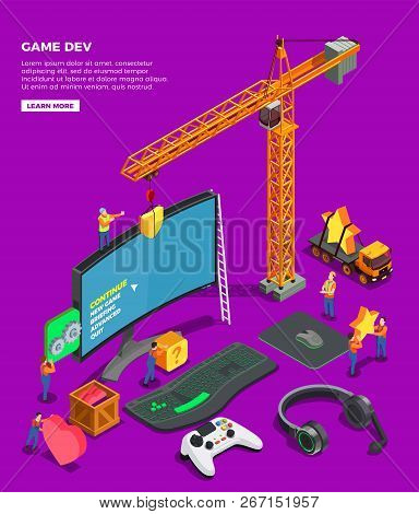Game Development Isometric Composition With Big Screen Keyboard Joystick For Video Game Headphones A
