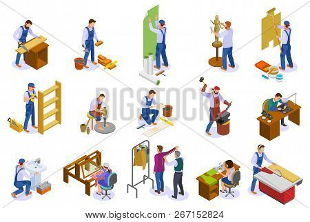 Craftsman Isometric Icons Set With Hand Loom Weaver Carpenter Sculptor Tailor Potter At Work Isolate