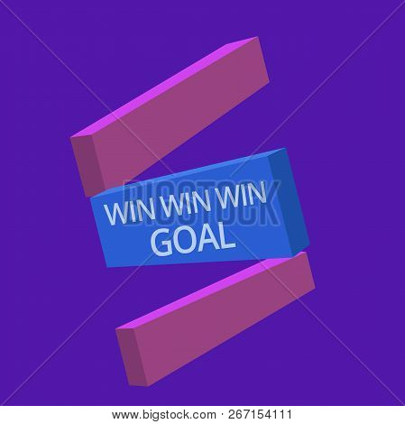 Handwriting Text Win Win Win Goal. Concept Meaning Approach That Aims To Satisfy All Parties Involve