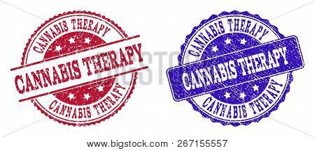 Grunge Cannabis Therapy Seal Stamps In Blue And Red Colors. Stamps Have Draft Style. Vector Rubber I