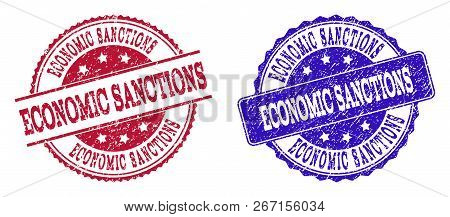 Grunge Economic Sanctions Seal Stamps In Blue And Red Colors. Stamps Have Distress Style. Vector Rub