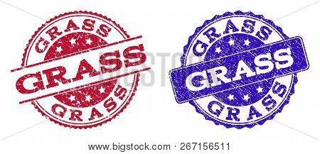 Grunge Grass Seal Stamps In Blue And Red Colors. Stamps Have Distress Style. Vector Rubber Imitation