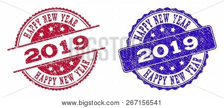 Grunge Happy New Year 2019 Seal Stamps In Blue And Red Colors. Stamps Have Draft Surface. Vector Rub