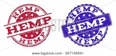 Grunge Hemp Seal Stamps In Blue And Red Colors. Stamps Have Distress Style. Vector Rubber Imitation
