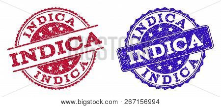Grunge Indica Seal Stamps In Blue And Red Colors. Stamps Have Distress Texture. Vector Rubber Imitat