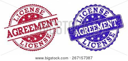 Grunge License Agreement Seal Stamps In Blue And Red Colors. Stamps Have Draft Style. Vector Rubber