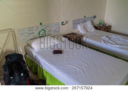 Santa Ana, El Salvador - April 4, 2016: Dorm Room In Casa Verde Hostel In Santa Ana City.