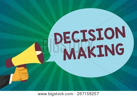Word Writing Text Decision Making. Business Concept For The Act Of Deciding Between Two Or More Poss