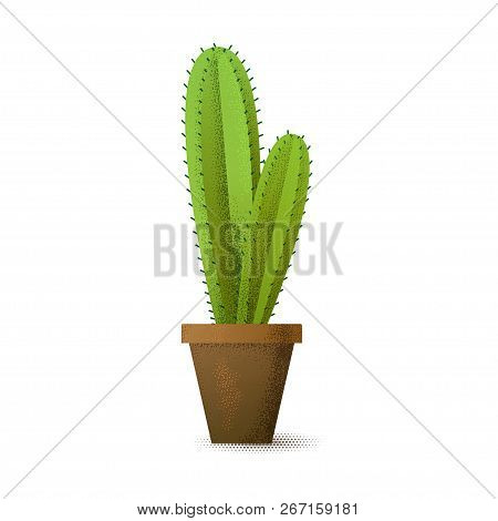 Cactus With Prickles In A Flowerpot. House Plant. Vector Illustration